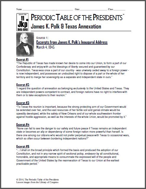 New Lesson James K Polk Texas Annexation Periodic Presidents