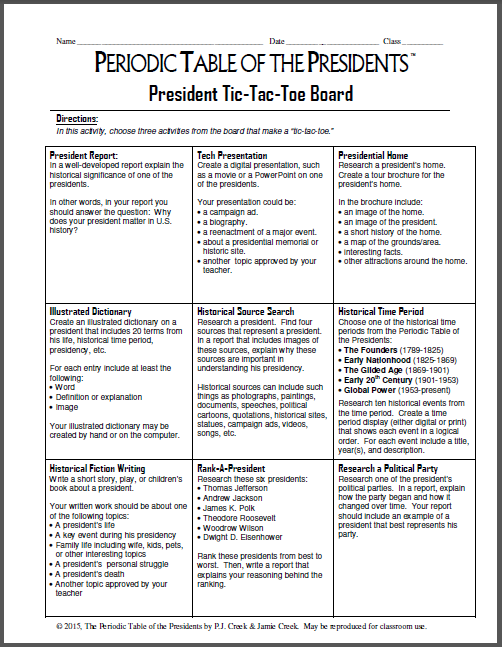new lesson president tic tac toe board